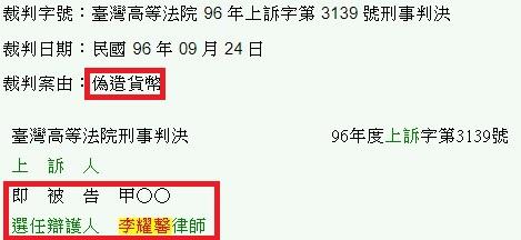偽造貨幣-臺灣高等法院 96 年上訴字第 3139 號刑事判決