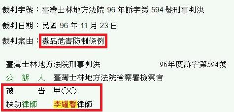 毒品危害防制條例-臺灣士林地方法院 96 年訴字第 594 號刑事判決